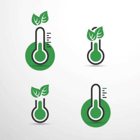 Global Warming, Ecological Problems and Solutions - Set of Thermometer Icon Design Concepts
