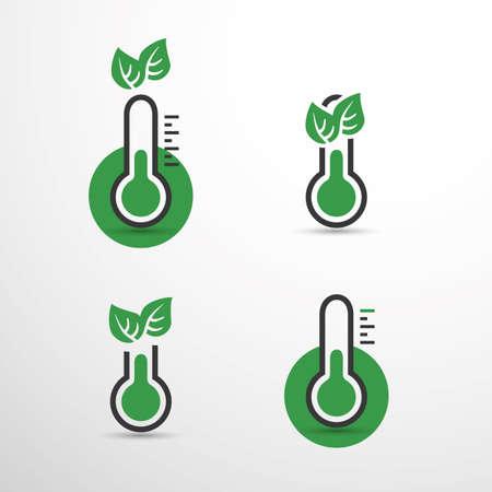 Riscaldamento globale, problemi ecologici e soluzioni - Set di concetti di design dell'icona del termometro