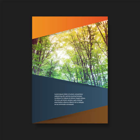 Modern Style Flyer or Cover Design for Your Business with Forest Image - Applicable for Reports, Presentations, Placards, Posters, Travel Guides Stock Vector - 128886683