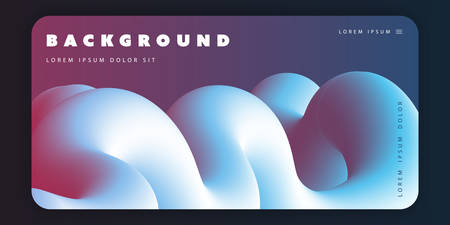 Abstract Background Template, Gradient Shapes Composition, Poster or Landing Page Design with Red, Blue and White Three Dimensional Shape - Vector Illustration Illustration