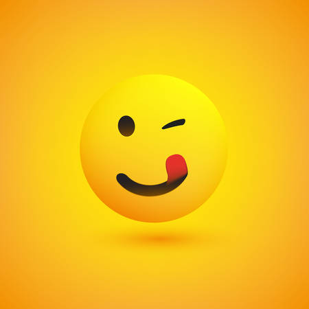 Emoji sonriente con lengua pegada - Emoticon feliz simple sobre fondo amarillo - Diseño vectorial Ilustración de vector
