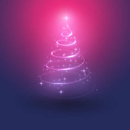 Merry Christmas, Happy Holidays Card -  Christmas Tree Shape Made from Bright Spiraling Light on a Dark Blue, Purple and Red Background Standard-Bild - 130143489