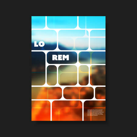 Modern Style Tiled Flyer or Cover Design for Your Business with Blurry Night City View Image - Template Applicable for Reports, Presentations, Placards, Posters, Travel Guides