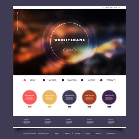 Website Template for Your Business with Colorful Blurred Abstract Header Design