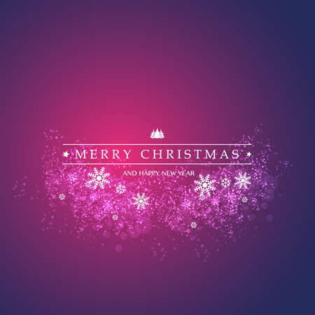 Best Wishes - Purple and Dark Blue Modern Style Happy Holidays, Merry Christmas Greeting Card with Label on a Sparkling Blurred Background