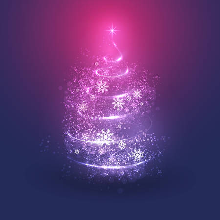 Merry Christmas, Happy Holidays Card -  Christmas Tree Shape Made from Bright Spiraling Light on a Dark Blue, Purple and Red Background 向量圖像
