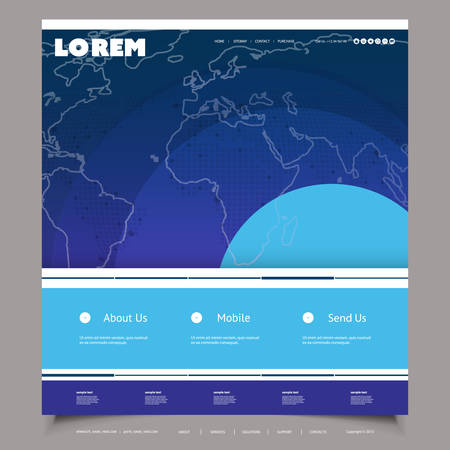 Global Business, Technology - Website Template Design with World Map