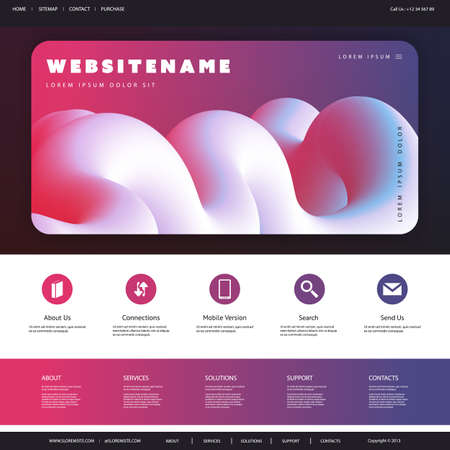 Abstract Website Template Design for Your Business with Red, Blue and White Three Dimensional Shape in the Header