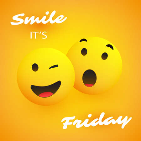 Smile, It's Friday - Banner Design with a Pair of Winking and Surprised Emoji