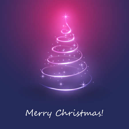 Merry Christmas, Happy Holidays Card -  Christmas Tree Shape Made from Bright Spiraling Light on a Dark Blue, Purple and Red Background Ilustrace