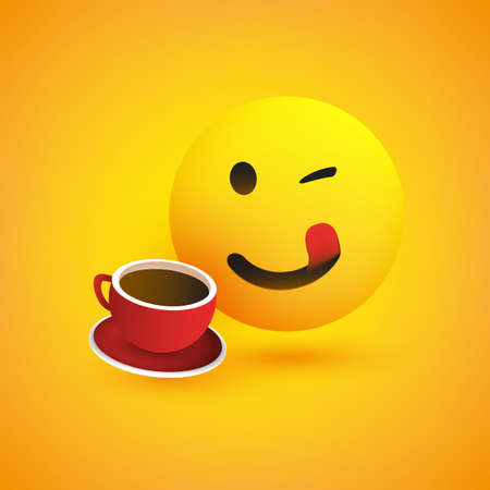 Smiling Mouth Licking Emoji - Simple Happy Emoticon with Winking Eye and a Cup of Coffee on Yellow Background - Vector Design