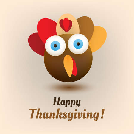 Happy Thanksgiving Card Design Template with Turkey Emoji