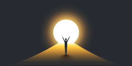 Nuevas posibilidades, esperanza - concepto de Vector de solución de búsqueda empresarial - empresario de pie en la oscuridad, símbolo de luz al final del túnel