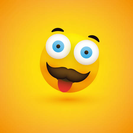 Smiling Emoji - Simple Happy Emoticon with Pop Out Eyes, Tongue and Mustache on Yellow Background - Vector Design