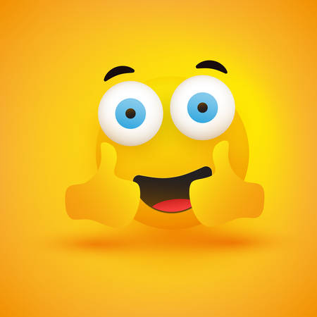 Smiling Emoji - Simple Happy Emoticon with Pop Out Eyes Showing Thumbs Up on Yellow Background - Vector Design