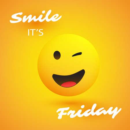 ¡Sonrisa! Es viernes: pancarta del fin de semana con emoji sonriente y guiñando un ojo
