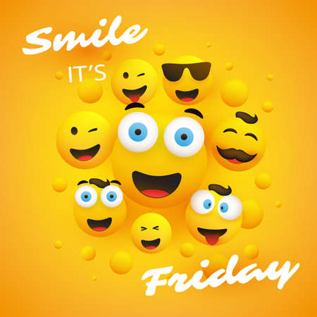 Smile! Its Friday - Banner Design with a Group of Various Kinds of Emoji
