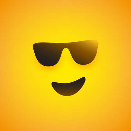Smiling Emoji Face with Sunglasses  - Simple Shiny Happy Emoticon on Yellow Background - Vector Design