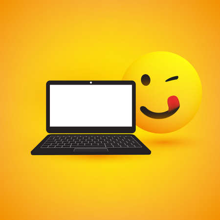 Mouth Licking Emoji, Emoticon with Winking Eye and Laptop Computer on Yellow Background - Vector Design Иллюстрация