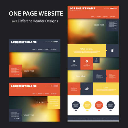 Kleurrijke websitesjabloon met één pagina - verschillende koptekstontwerpen met onscherpe achtergronden