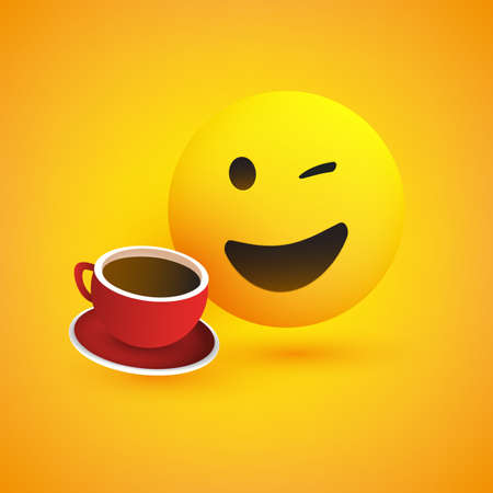 Smiling and Winking Emoji with a Cup of Coffee - Simple Shiny Happy Emoticon on Yellow Background - Vector Design
