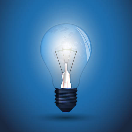New Idea - Glowing Light Bulb Design, Illustration in Editable Vector Format Иллюстрация