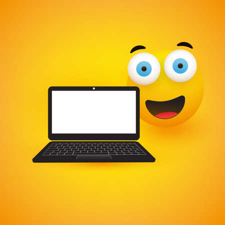 Happy Smiling Emoji, Emoticon with Pop Out Eyes and Laptop Computer on Yellow Background - Vector Design