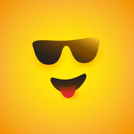 Smiling Emoji Face with Sunglasses and Stuck Out Tongue - Simple Shiny Happy Emoticon on Yellow Background - Vector Design