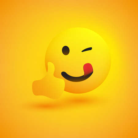 Smiling Emoji - Simple Happy Emoticon with Winking Eye Showing Thumbs Up - Vector Design