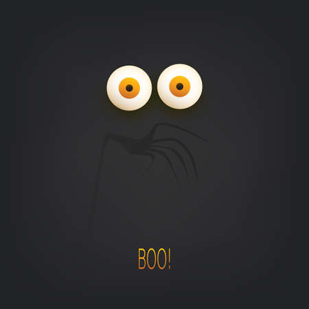 Happy Halloween Card Template with Pop Out Eyes in the Dark - Vector Illustration