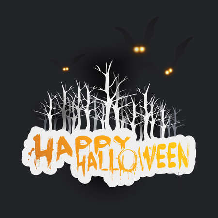 Happy Halloween Card Template - Flying Bats with Glowing Eyes Over the Forest  - Vector Illustration