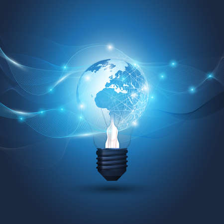 Abstract Cloud Computing, Electric and Global Network Connections Concept Design with Earth Globe Inside a Glowing Light Bulb and Transparent Geometric Mesh