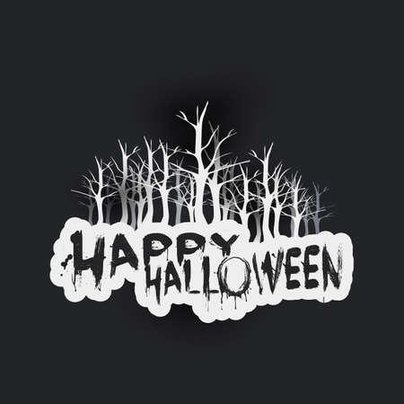 Happy Halloween Card Template - Dark Night, Bare Trees - Vector Illustration
