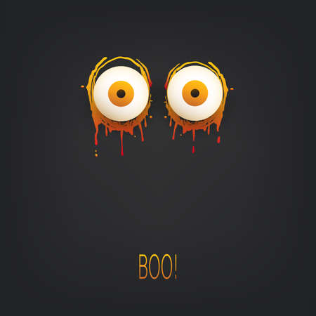 Happy Halloween Card Template - Creepy Face with Pop Out Eyes in the Dark - Vector Illustration 일러스트