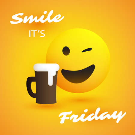 Smile! Its Friday - Banner with Winking Emoji and a Glass of Beer