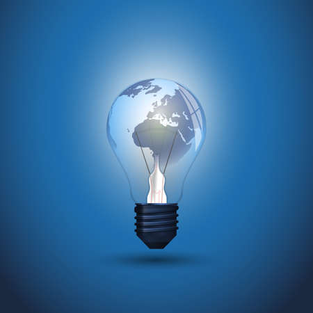 New Idea, Global Energy Concept Design with Earth Globe Inside a Glowing Light Bulb - Illustration in Editable Vector Format