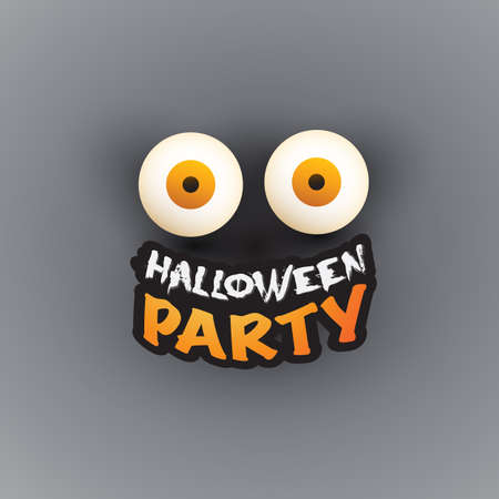 Happy Halloween Card Template - Creepy Face with Pop Out Eyes - Vector Illustration