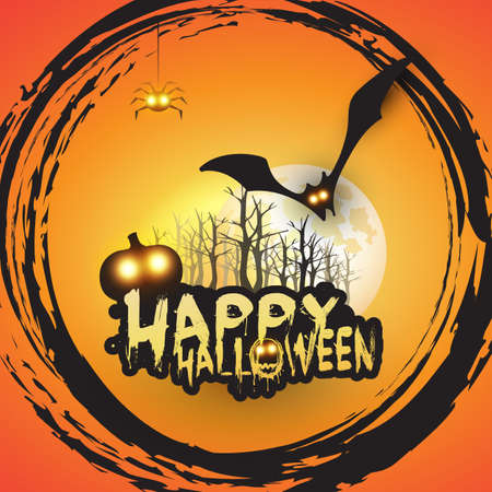 Happy Halloween Card Template Design - Flying Bats Over the Autumn Woods and Various Spooky Creatures with Glowing Eyes - Vector Illustration