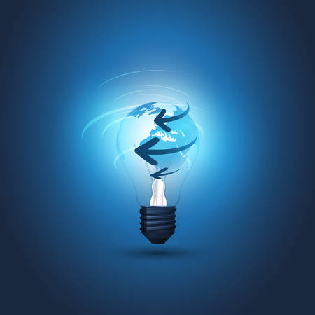 Abstract Cloud Computing, Electric and Global Network Connections Concept Design with Earth Globe Inside a Glowing Light Bulb and Arrows