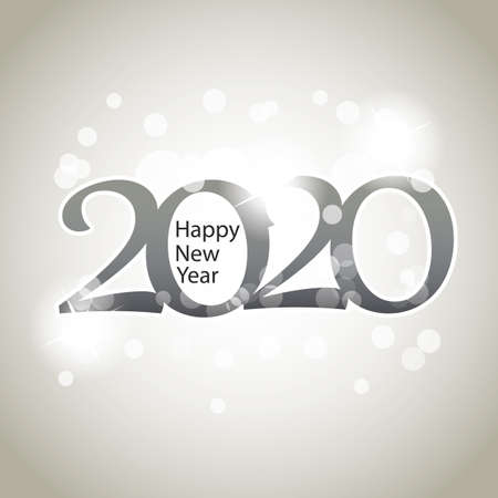 Sparkling Silver Grey New Year Card, Cover or Background Design Template  - 2020 Stock Illustratie