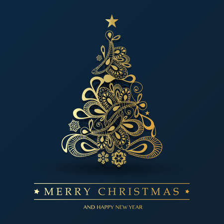 Greeting Card with Ornamental Patterned Christmas Tree - Holiday Background, Creative Design Template Foto de archivo - 133418315