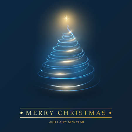Merry Christmas, Happy Holidays Card - Dark Christmas Tree Shape Made from Glowing Spiraling Light - Bule and Golden Foto de archivo - 133418322