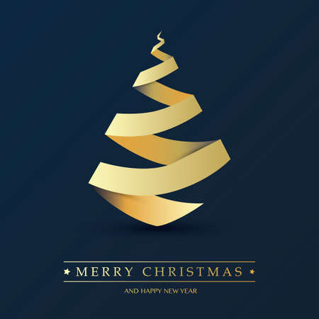 Cover, Invitation, Poster, Banner, Flyer, Placard Design with Christmas Tree Composition - Dark Blue and Golden Colors, Paper Cut Style Foto de archivo - 133418323