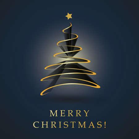 Dark Blue and Golden Merry Christmas, Happy Holidays Card - Golden Christmas Tree Shape Made from Dark Ribbon Foto de archivo - 133418326