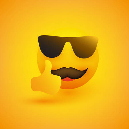 Smiling Emoji with Sunglasses and Mustache on Yellow Background - Vector Design 일러스트