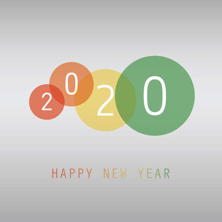 Best Wishes - Simple Red and White New Year Card, Cover or Background Design Template with Numerals - 2020 Stockfoto - 133418339