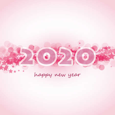 Best Wishes - Abstract Modern Style Happy New Year Greeting Card or Background, Creative Design Template - 2020 Foto de archivo - 133418353