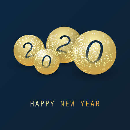 Best Wishes - Simple Dark Blue and Golden Abstract Modern Style Happy New Year Greeting Card, Cover or Background, Creative Design Template - 2020 Stock Illustratie