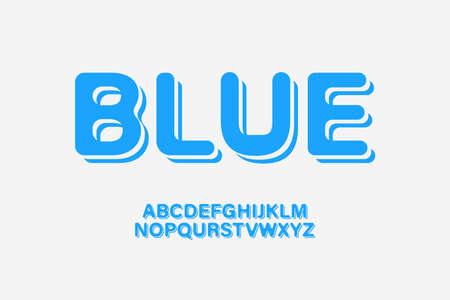 Curved Blue Alphabet Set - Retro Style Typography, Vector Illustration Vettoriali