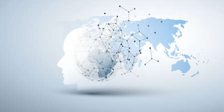 Machine Learning, Artificial Intelligence, Cloud Computing and Networks Design Concept with Human or Robot Face Silhouette, Polygonal Network Mesh and World Map